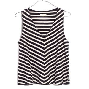 Madewell Black and White Chevron Swingy Tank